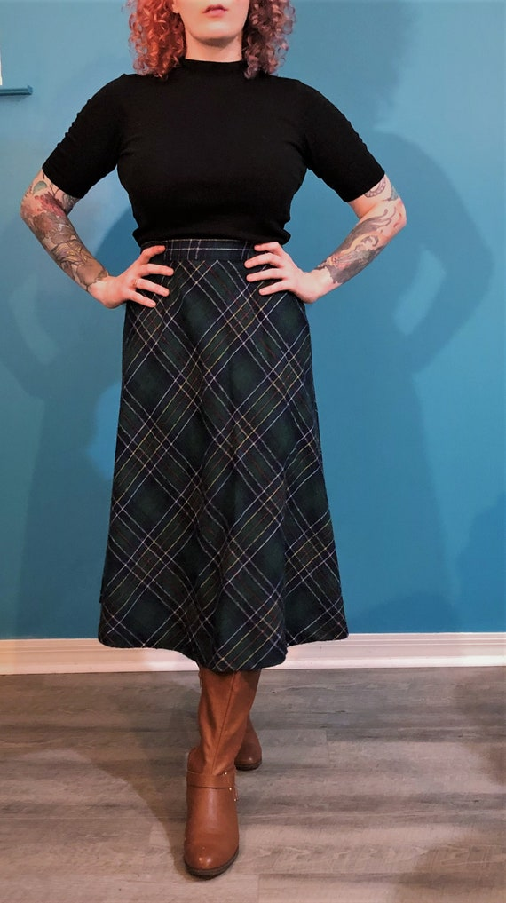 1970s green plaid wool maxi skirt - image 1