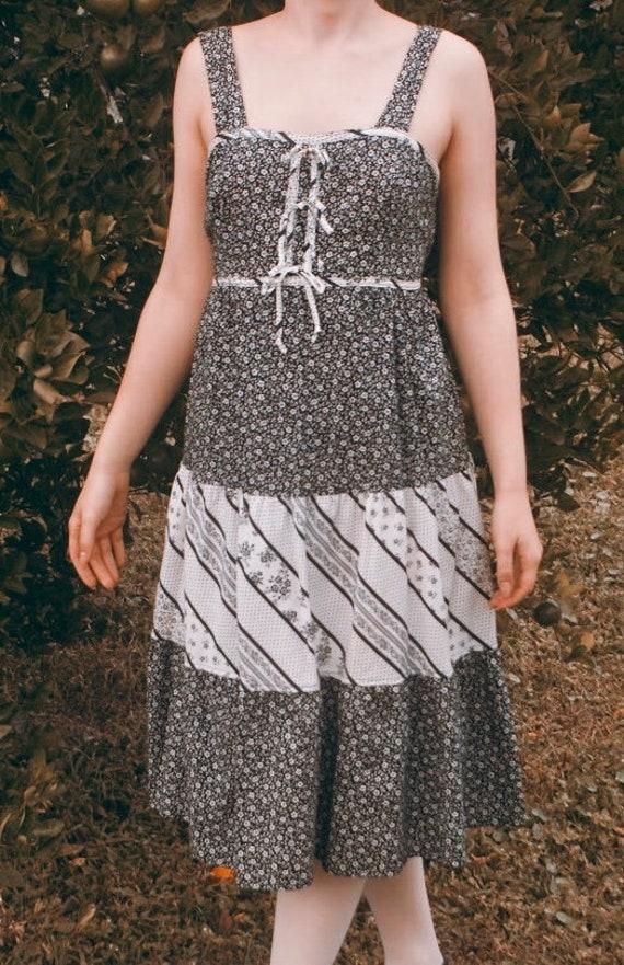 1970s vintage floral boho patchwork dress
