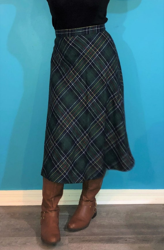 1970s green plaid wool maxi skirt - image 3