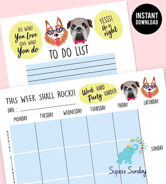 Cute - Goal Planner Printable 2019, Awesome Motivational Planner, best  daily planner - PDF, Funny Dog Inspirational planner, Organizer Gift