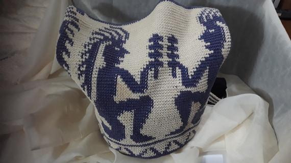 Tribal SouthWest Tote Kokopeli Dancer Crochet  One