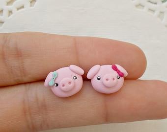 1d1580c29 Pig Earrings - Cute Stud Earrings - Kawaii Earrings - Funny Kids Earrings -  Animal Earrings - Gift for her