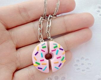 145cd13a80 Donut Keychains - Best Friend Keychains - BFF Gift Idea- Boyfriend  Girlfriend Gift - Friendship Keychain for 2 - Miniature Food