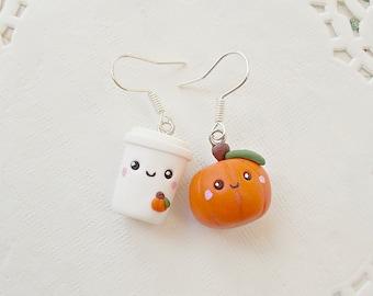 Pumpkin Earrings - Thanksgiving Earrings - Pumpkin Spice Latte Earrings - Thanksgiving Gift -