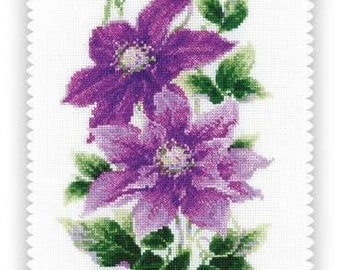 23x30 cm DIY Cross Stitch Kit Clematis in jug size: 9.0x11.8 Abris1 Embroidery kit
