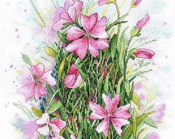 Modern Cross Stitch Embroidery Kit Bouquet of Flowers Pattern, Symphony of flowers, Gift Idea Russian Manufacture MP Studio