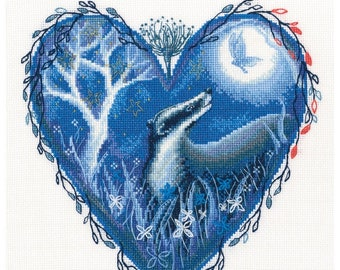 Modern Cross Stitch Embroidery Kit Friendship Badger and Butterfly Night Gift Idea Russian Manufacture,  Gift