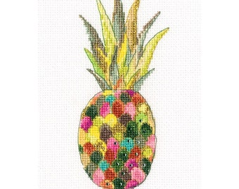 Modern Cross Stitch Embroidery Kit Colourful Silver Jewellery Pineapple Gift Idea Russian Manufacture,  Gift