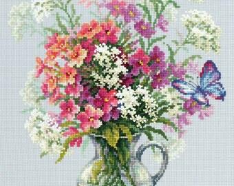 Sealed Cross Stitch Hand Modern Embroidery Kit Beautiful Flowers Phlox and Yarrow Russian Manufacture Gift Idea,  Gift, Wall decor