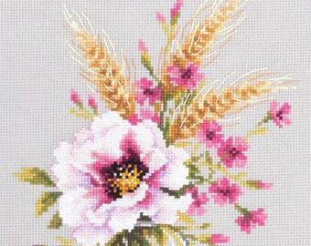 Sealed Cross Stitch Hand Modern Embroidery Kit Beautiful Widflowers Poppy and Carnation Russian Manufacture Gift Idea,  Gift, Wall decor