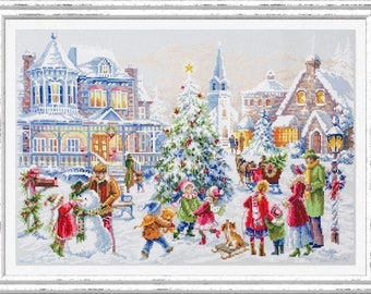 New Counted Modern Cross Stitch Kit by Christmas Pets Puppy and Cat Mother/'s day Gift Russian Manufacture Christmas Eve Print