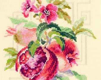 Pomegranate Food Embroidery Modern Counted Cross Stitch Hand Embroidery Kit Delicious Fruits Kitchen Interior Russian Cross Stitch kit