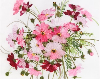 Modern Ribbon Embroidery Kit Beautiful Lovely Flowers Breath of Tenderness Gift Idea Russian Manufacture