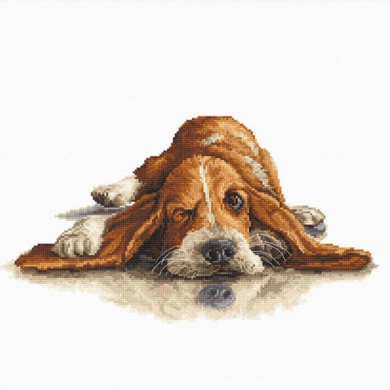 Modern Counted Cross Stitch Embroidery Kit Cute Dog Funny Inspirational Embroidery Kit by Luca-S Manufacture Mother/'s day Gift