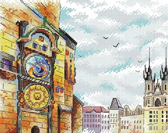Modern Cross Stitch Embroidery Kit Chech History Pattern, European City, Gift Idea Russian Manufacture MP Studio,  Gift