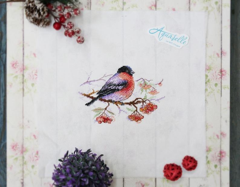 New Modern Counted Cross Stitch Hand Embroidery Kit Bullfinch Bird Frosty Wanderer Russian Manufacture Gift Idea