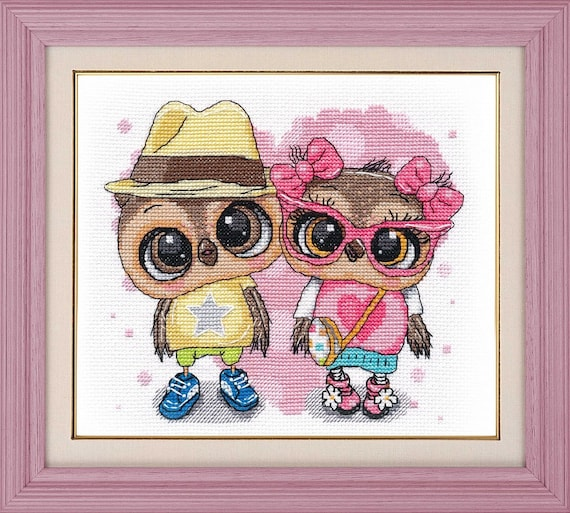 Hand Embroidery Kit New Modern Counted Cross Stitch Kit Gift Idea Owl Print Doctor Appointment Cute Doctor Owl Owl Embroidery