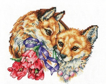 Modern Cross Stitch Embroidery Kit Cute Foxex Flowers Happy Together Gift Idea Russian Manufacture Andriana,  Gift