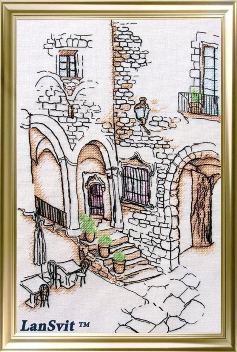 Moderne gezähltes Kreuzstich Hand Stickerei Kit Hof in Spanien, Europa Architektur, schöne Bystreet, Sommer Hitze