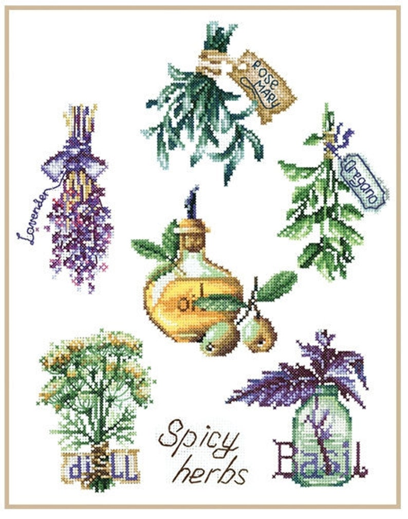 Spicy Herbs New Unopened Modern Cross Stitch Kit Gift Idea Andriana Floral Embroidery Kit Herbs Print Sampler Embroidery