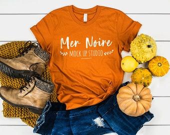 51002a3e6d668a Bella Canvas Autumn Thanksgiving Mockup 3001 Burnt Orange Knotted Shirt  Unisex Flatlay Mockup