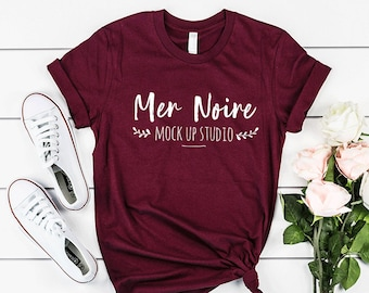 Download Free Bella Canvas mockup, 3001 Maroon, Bella Canvas Mockup 3001 Maroon Knotted Shirt Unisex Flatlay Mockup PSD Template