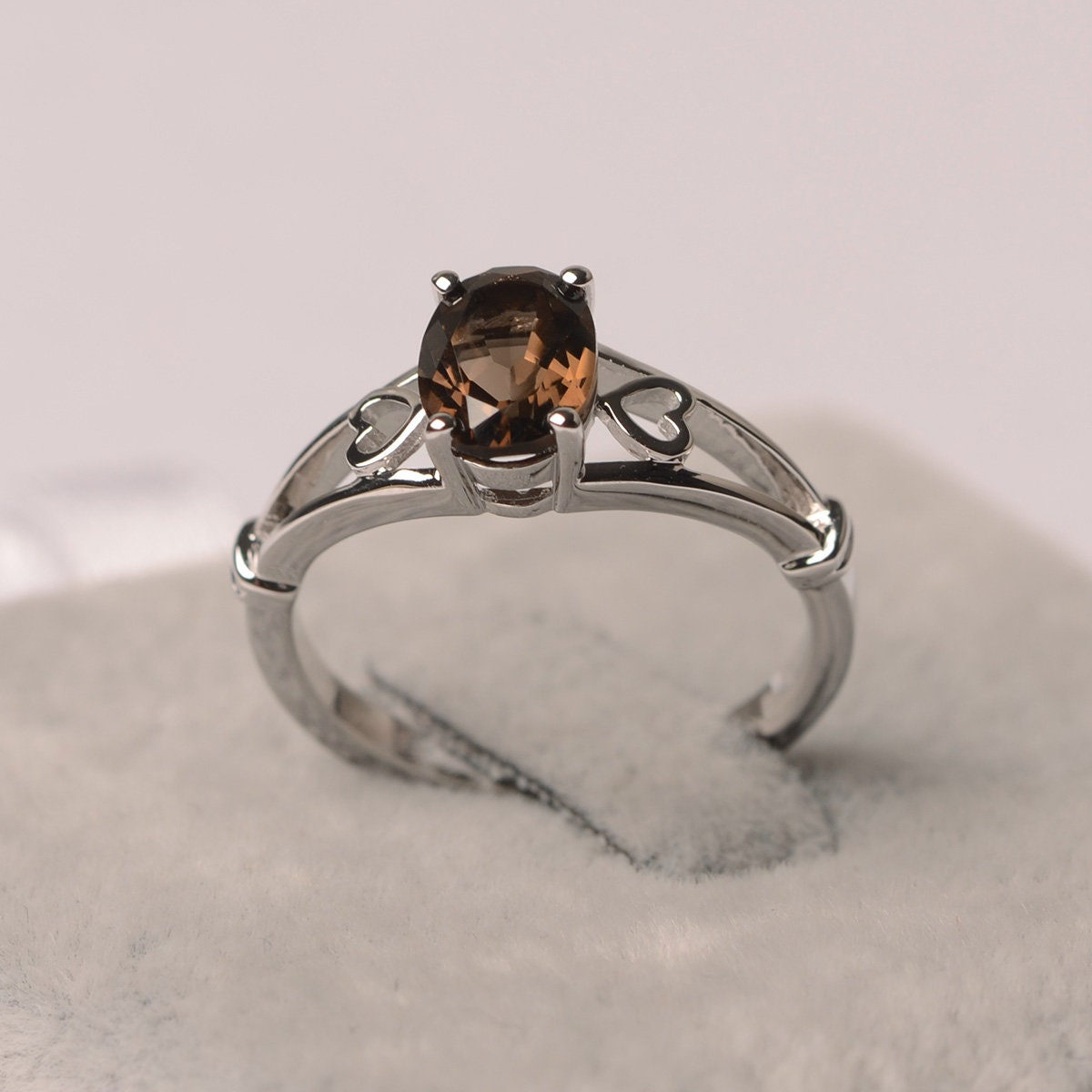 Smoky Quartz Ring Oval Cut Ring Sterling Silver image 0