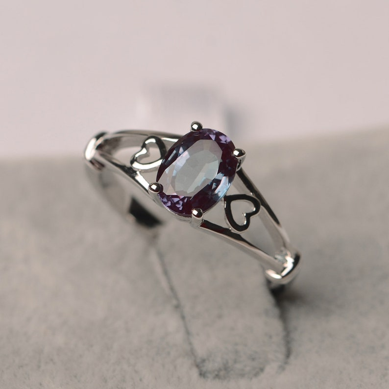 Alexandrite ring oval cut Jun birthstone silver solitaire engagement ring for women