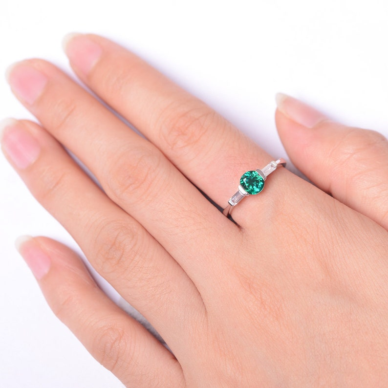 emerald ring round cut green stone rings white gold ring May birthstone ring