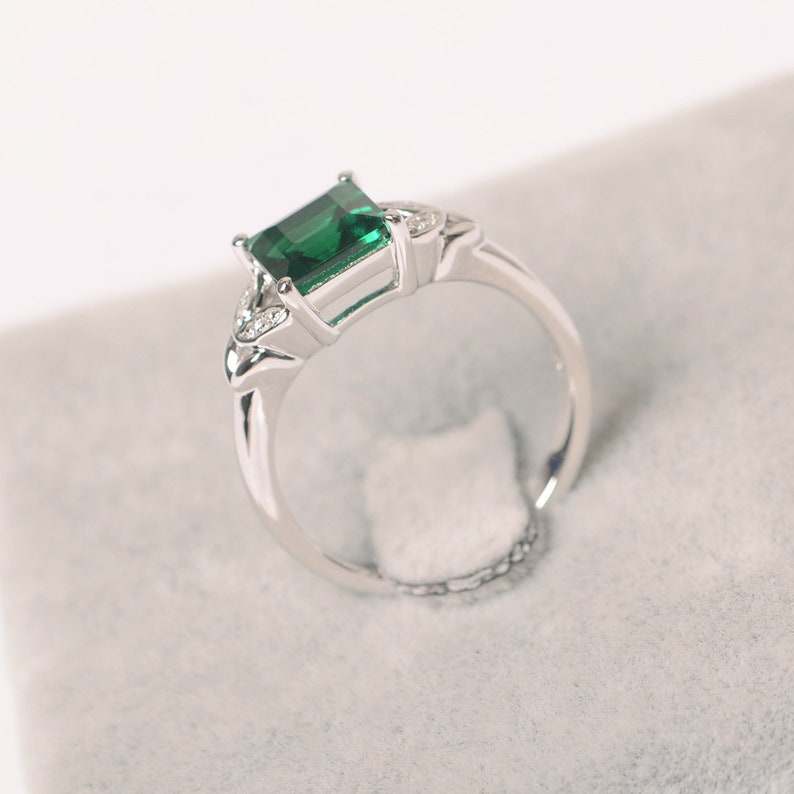emerald ring sterling silver May birthstone ring promise ring for her