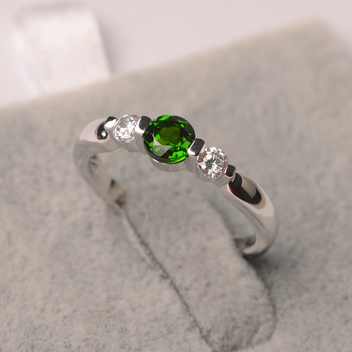 Diopside ring round shape white gold green gemstone ring for image 0