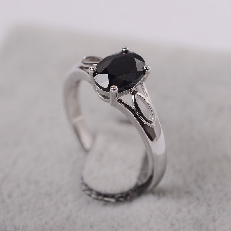 black spinel ring oval cut black stone sterling silver single ring for women