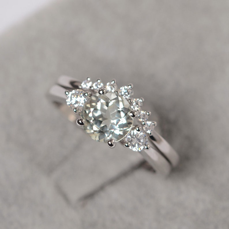 Round cut green amethyst ring sterling silver engagement ring for women