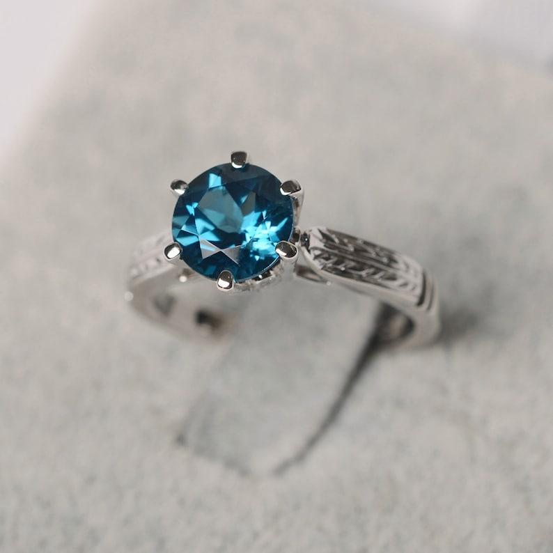 London blue topaz ring 925 silver ring gift for her