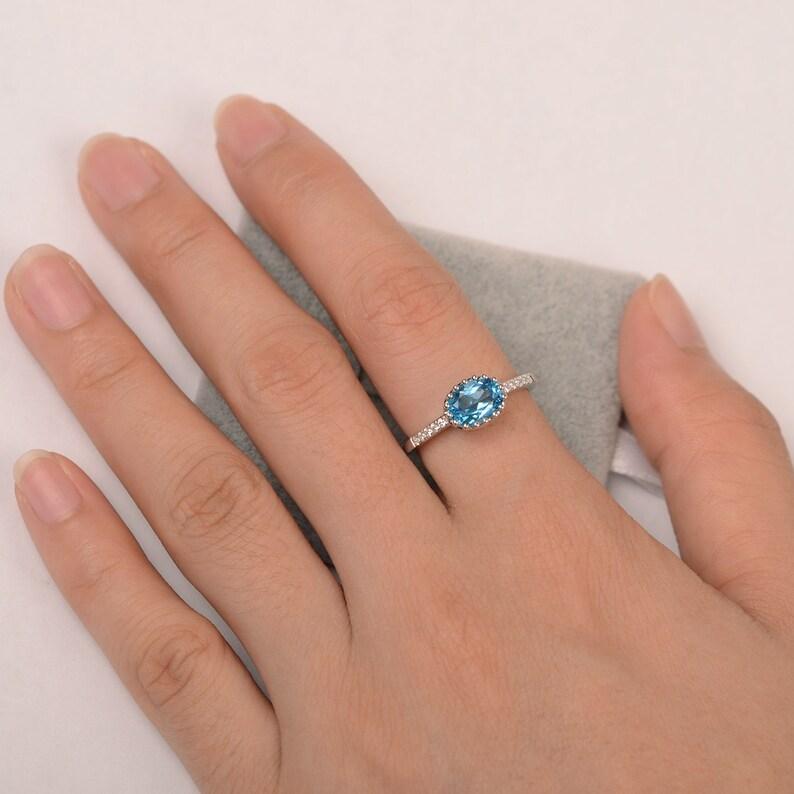 Swiss blue topaz ring promise ring for her engagement ring blue gemstone