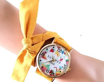 Watches with interchangeable fabric straps for women and teens