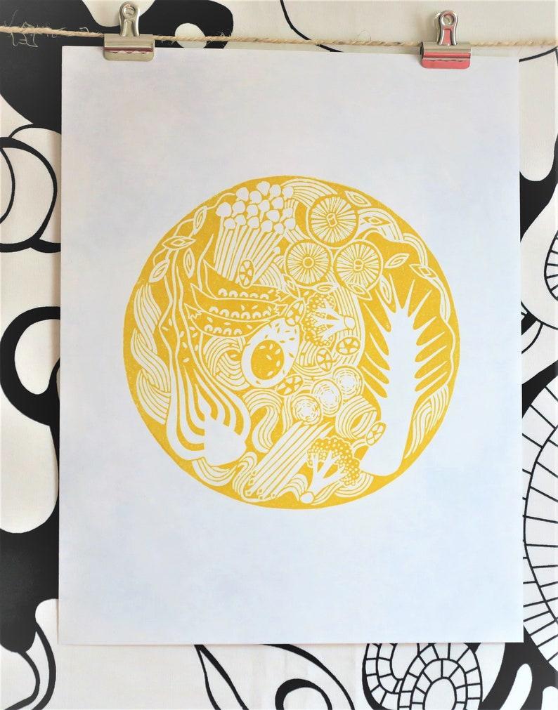 Ramen Noodle Linocut Print Kitchen Art Gift for Cooks image 0