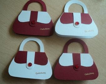 4x Einladungskarten Einladung Zum Kindergeburtstag Mini Handtasche Mädchen