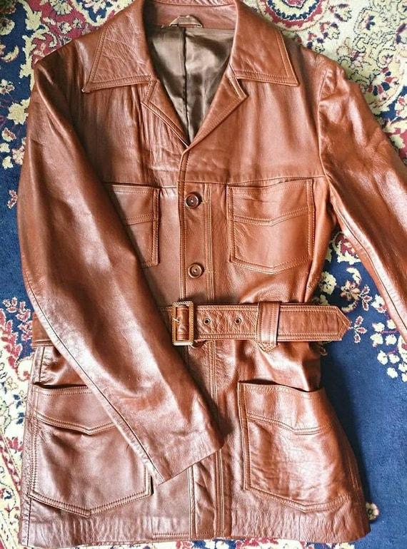 Groovy MENS vintage 70s dagger collar leather jack