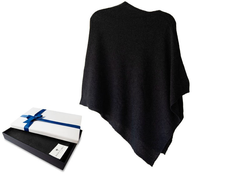 Firenze Cashmere Blend Poncho Over Sized Black