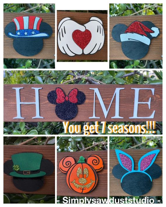 TWO DISNEY Wooden Round Happy Easter Signs ft NEW Mickey Mouse /& Minnie Mouse