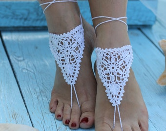 2d814f01d0da34 Bridal Barefoot Sandals White crochet barefoot sandals Bridal Foot jewelry  Beach wedding barefoot sandals Lace shoes Beach wedding sandals
