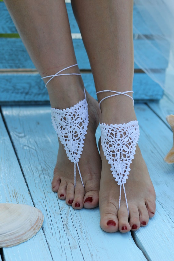Robe de Mariage Crochet Pieds Nus Bracelet Mailles Bracelet Sandales Pied Bijoux Plage