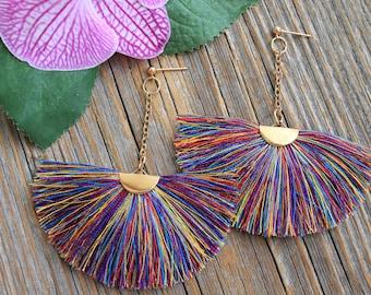 Earrings,Fan tassel earrings,Tassel earrings,Large fringe earrings,Rainbow earrings,Long earrings,Boho earrings,Women's chandelier earrings