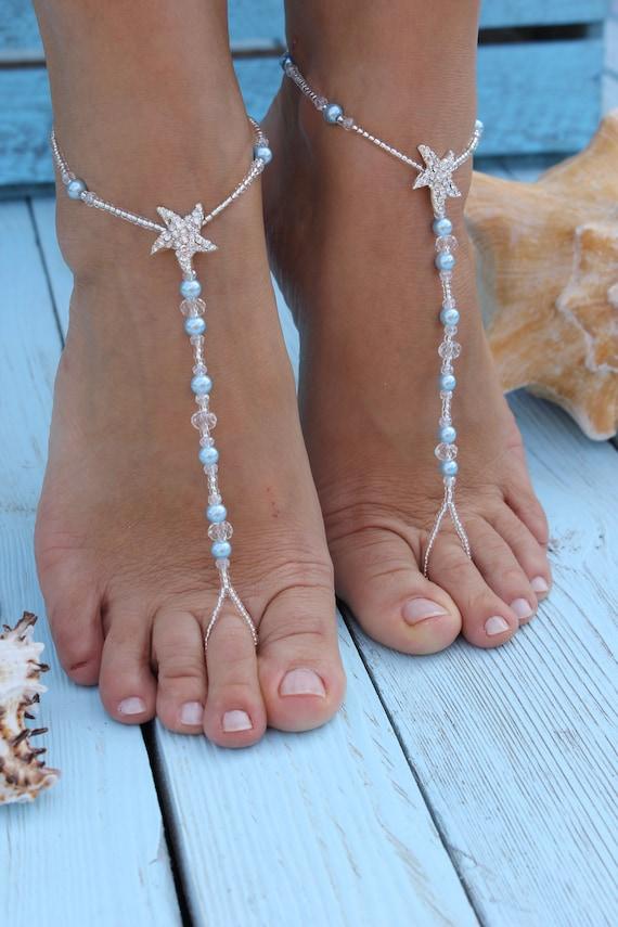 Barefoot sandals,Bermuda Beach wedding barefoot sandals,Bridal foot jewelry,Starfish barefoot sandles,Footless sandals,Bridesmaid gift