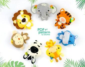 Jungle animals felt toy PDF and SVG patterns, Tiger, Elephant, Hippo, Zebra, Giraffe, Monkey and Lion, Safari baby crib mobile