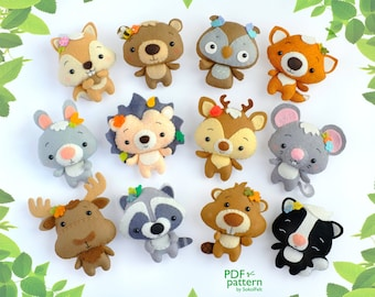 Set of 12 cute woodland animal felt toy sewing PDF and SVG patterns, Squirrel, Raccoon, Fox, Skunk, Bear, Hedgehog, Deer, Rabbit, Beaver