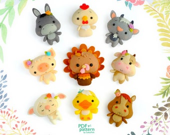 Farm animals felt toy sewing PDF and SVG patterns, Chick, Turkey, Goat, Duck, Horse, Pig, Cow, Donkey and Lamb, baby crib mobile toy