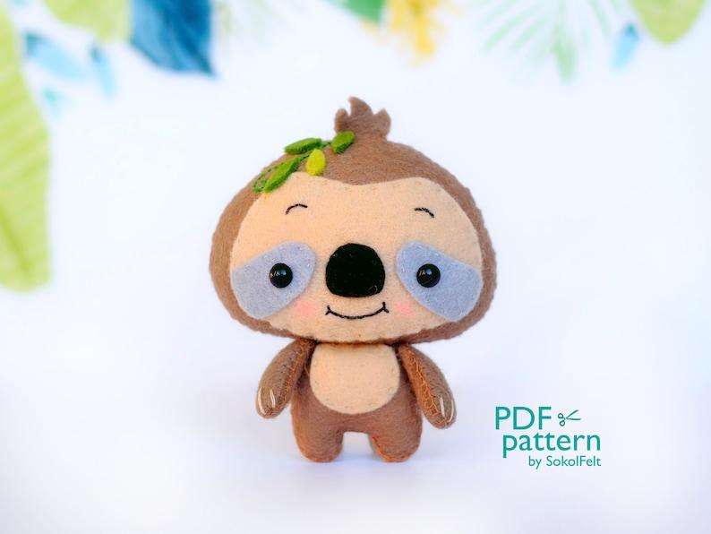 baby crib mobile toy Felt woodland animal plush toy sewing tutorial Sloth PDF pattern