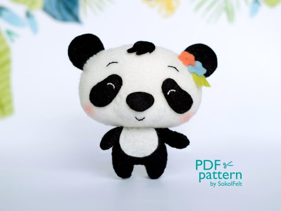 PDF Download SVG file felt toy 3 Panda Bears Mini Plush Felt Animals Sewing pattern
